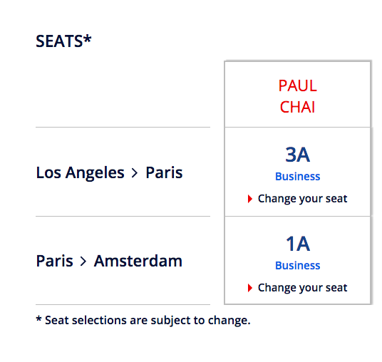 Air France Seat Times