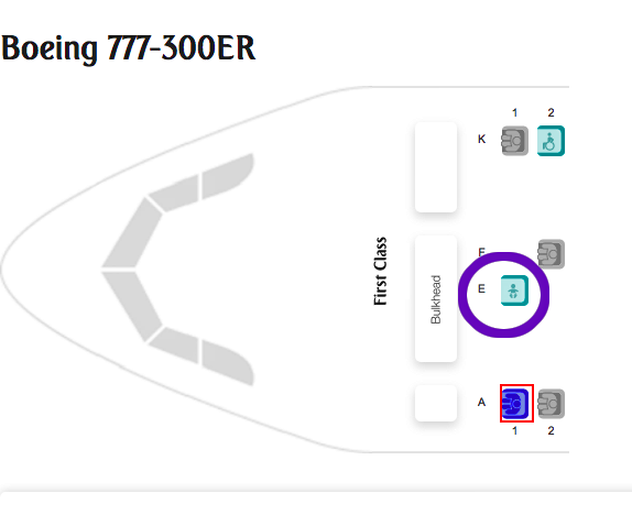 Emirates First Class New 777 seatmap