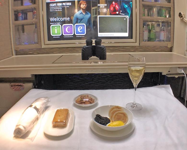 Emirates First Class Caviar and Dom Perignon